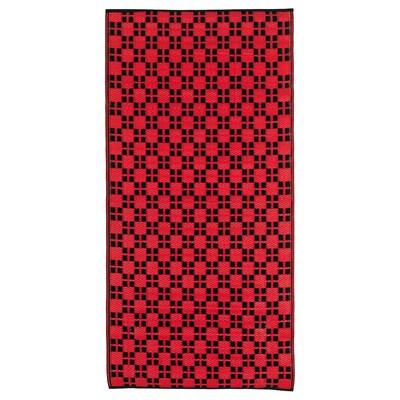 SAMMANKOPPLA Teppich flach gewebt, rot/schwarz, 75x150 cm