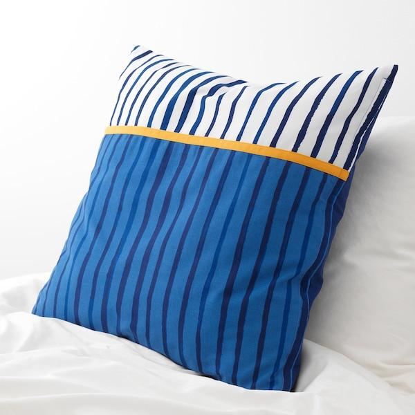SÅNGLÄRKA Kissen, Streifen/blau orange, 50x50 cm