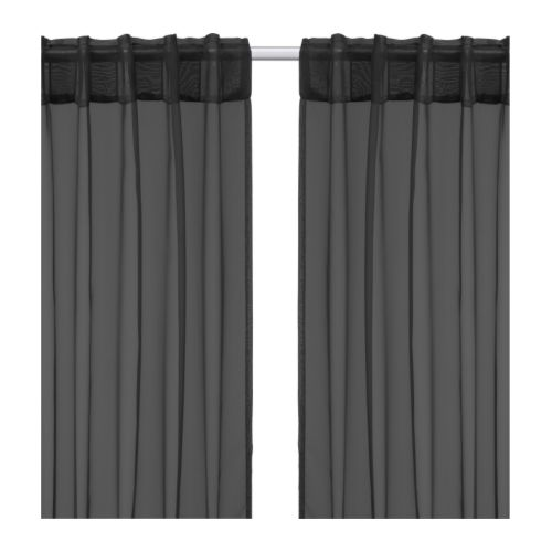 ikea 2 gardinenschals gardinenschal vorhang schlaufenschal gardine schwarz neu. Black Bedroom Furniture Sets. Home Design Ideas