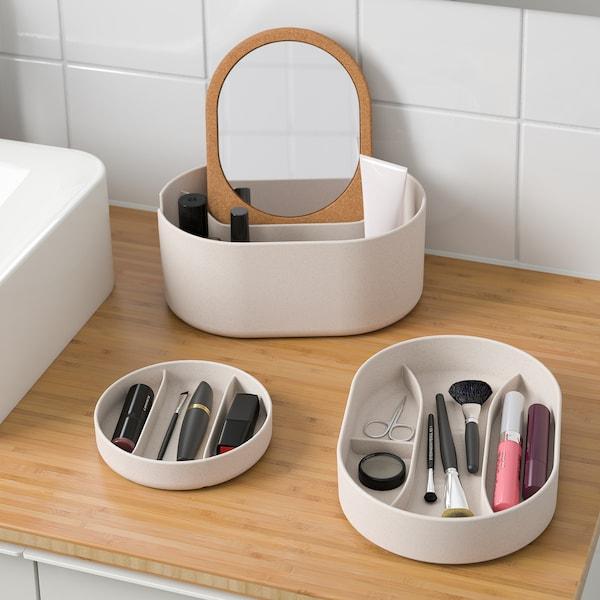 SAXBORGA Kasten mit Spiegeldeckel, Kunststoff Kork, 24x17 cm
