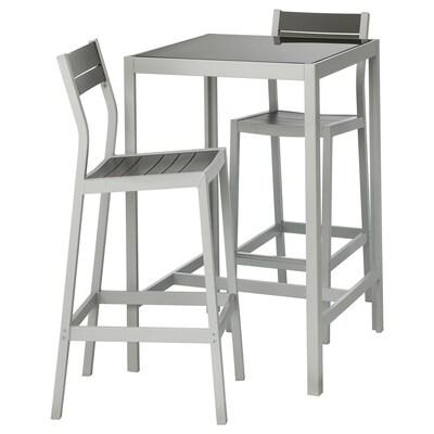 SJÄLLAND Bartisch + 2 Barstühle/außen, Glas grau/hellgrau