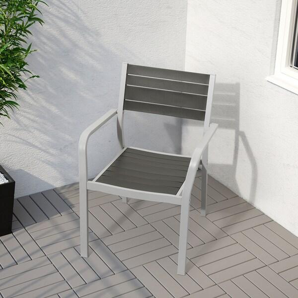 SJÄLLAND Tisch und 2 Armlehnstühle/außen dunkelgrau/Kuddarna hellblau 71 cm 71 cm 73 cm