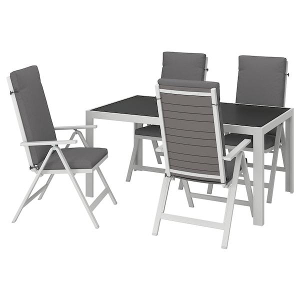 SJÄLLAND Tisch+4 Hochlehner/außen Glas/Frösön/Duvholmen dunkelgrau 156 cm 90 cm 73 cm