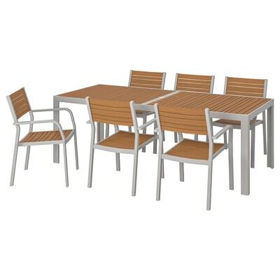 SJÄLLAND Tisch+6 Armlehnstühle/außen, hellbraun/hellgrau, 220x90 cm