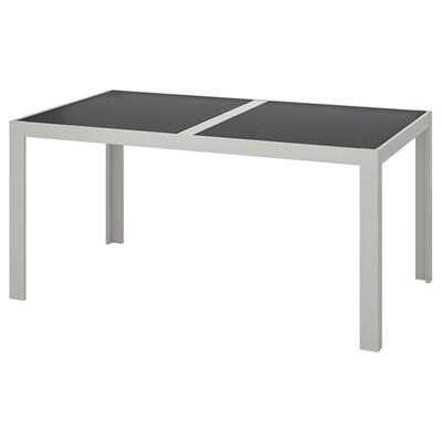 SJÄLLAND Tisch/außen, Glas grau/hellgrau, 156x90 cm