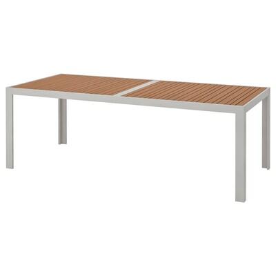 SJÄLLAND Tisch/außen, hellbraun/hellgrau, 220x90 cm