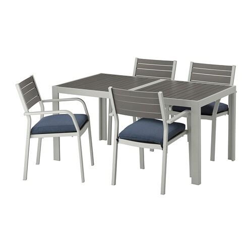 sj lland tisch 4 armlehnst hle au en sj lland dunkelgrau. Black Bedroom Furniture Sets. Home Design Ideas
