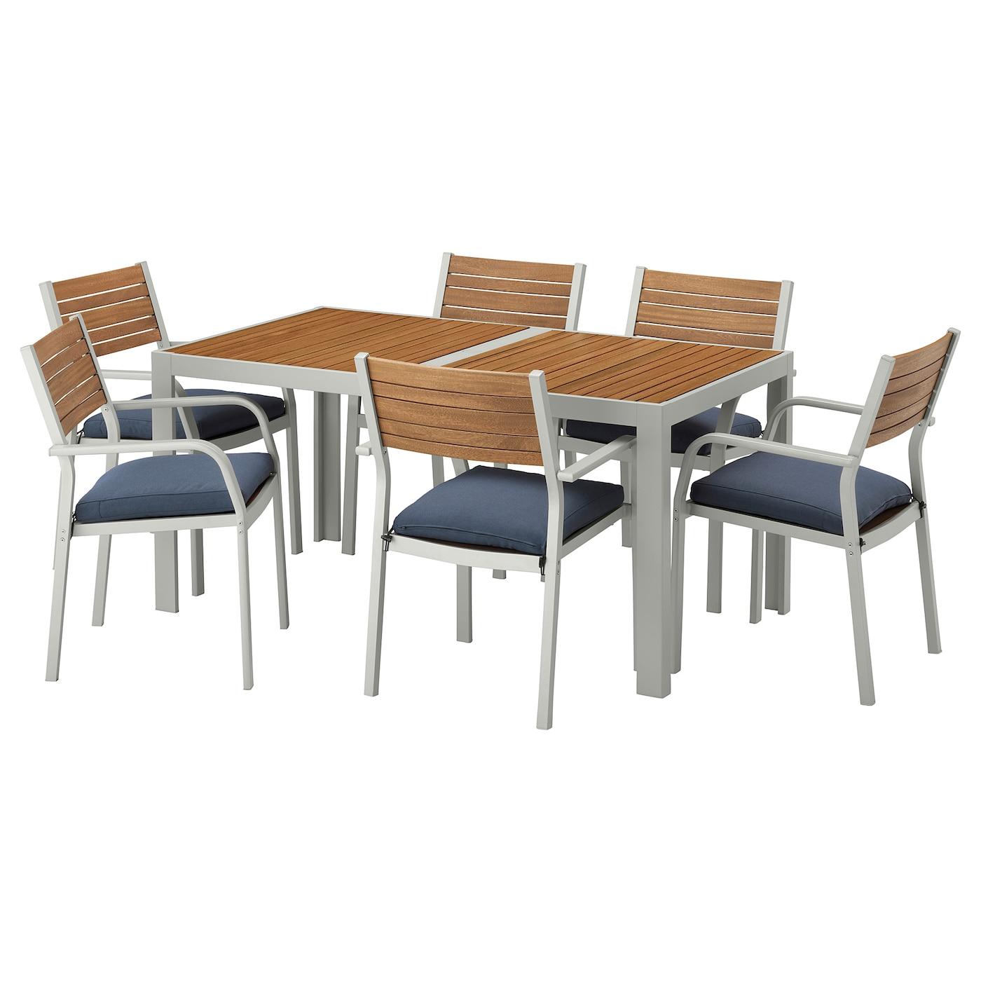 SJÄLLAND, Tisch+6 Armlehnstühle/außen, hellbraun, blau 792.665.44