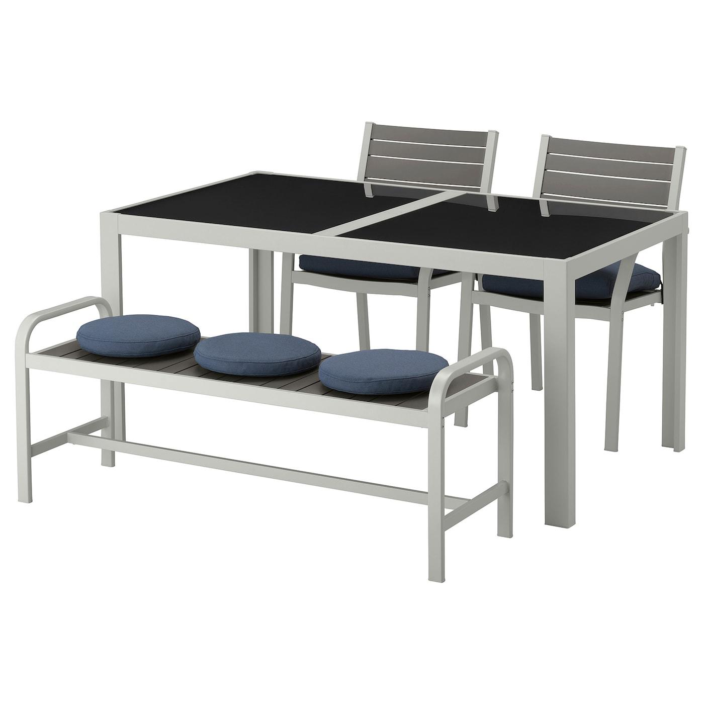 SJÄLLAND, Tisch+2 Stühle+Bank/außen, Glas, blau 092.678.20