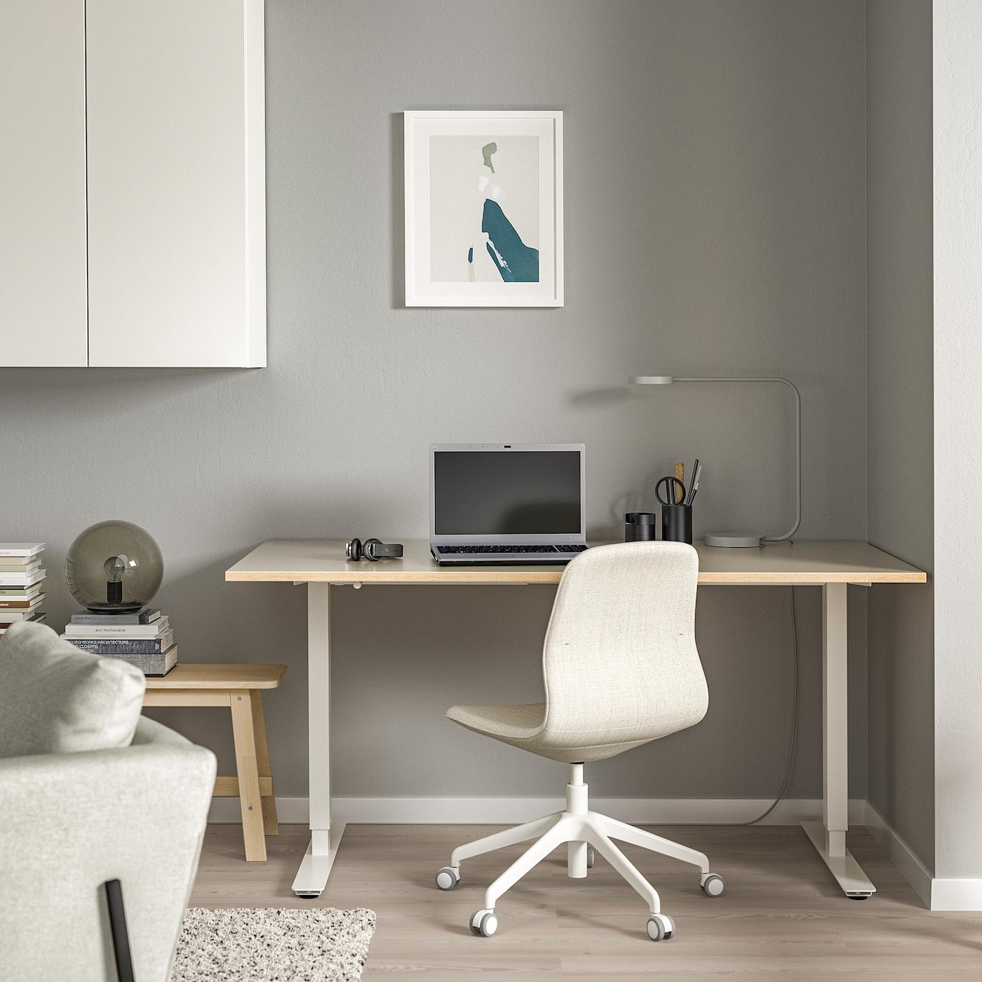SKARSTA Schreibtisch sitzsteh beigeweiß 160x80 cm