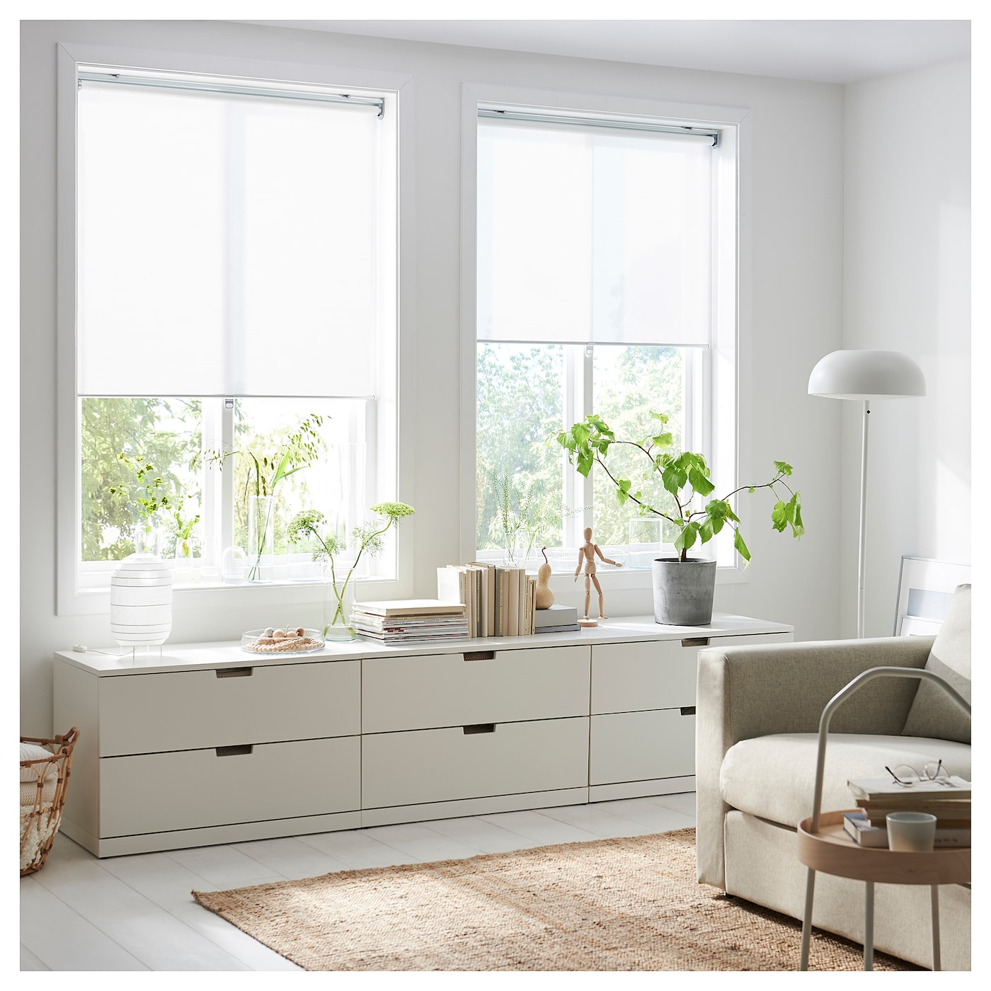 SKOGSKLÖVER Rollo, weiß, 140x195 cm