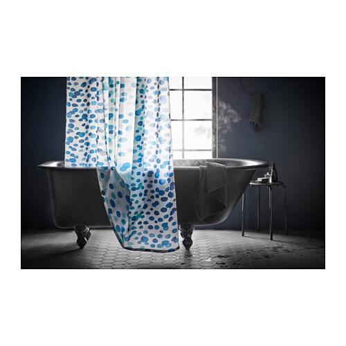 ikea duschvorhang skorren wei blau 200 180 cm polyester wasserabweisend neu traumfabrik xxl. Black Bedroom Furniture Sets. Home Design Ideas