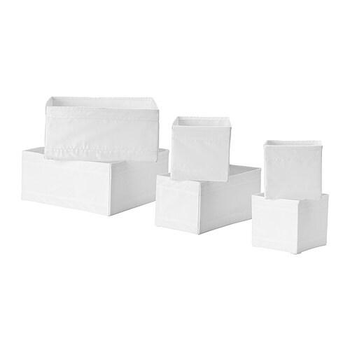 IKEA-SKUBB-Behaelter-6er-Set-WEIss-Aufbewahrung-Container-Box-Boxen-Schubladen-NEU