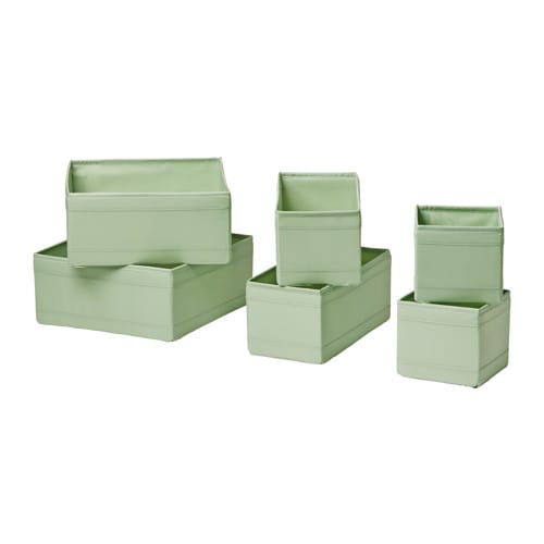 Ikea skubb kleidungsbox 6er set gr n aufbewahrung schachtel boxen kisten box neu ebay - Organisateur de tiroir ikea ...