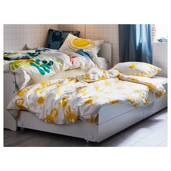 SLÄKT Bettgestell, Unterbett+Aufbewahrung, weiß, 90x200 cm