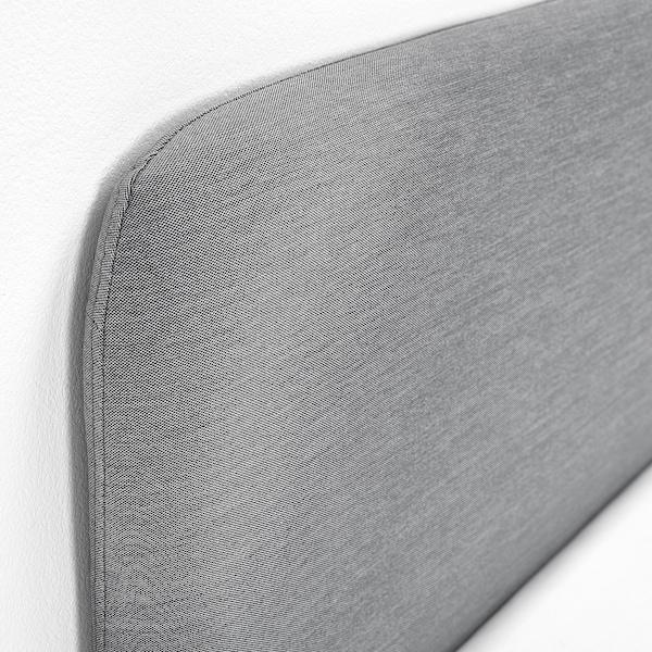 SLATTUM Bettgestell, gepolstert, Knisa hellgrau, 160x200 cm