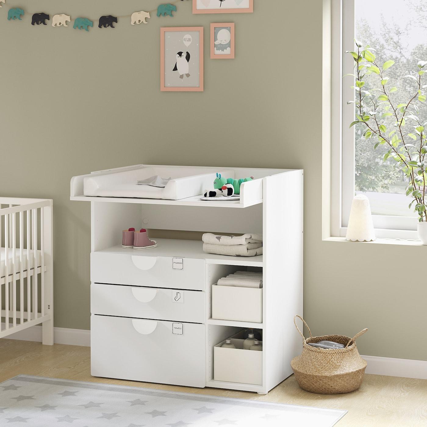 SMÅSTAD Wickeltisch, weiß weiß/3 Schubladen, 90x79x100 cm