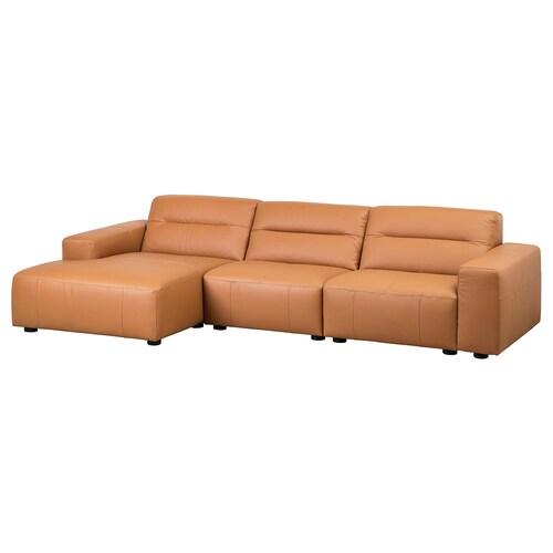 SNOGGE 3er-Sofa mit Récamiere links/Grann goldbraun 330 cm 160 cm 80 cm