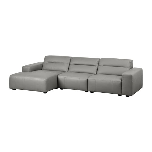 snogge 3er sofa mit r camiere links grann graugr n ikea. Black Bedroom Furniture Sets. Home Design Ideas