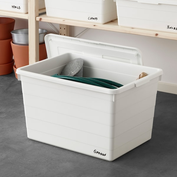 SOCKERBIT Box mit Deckel, weiß, 38x51x30 cm