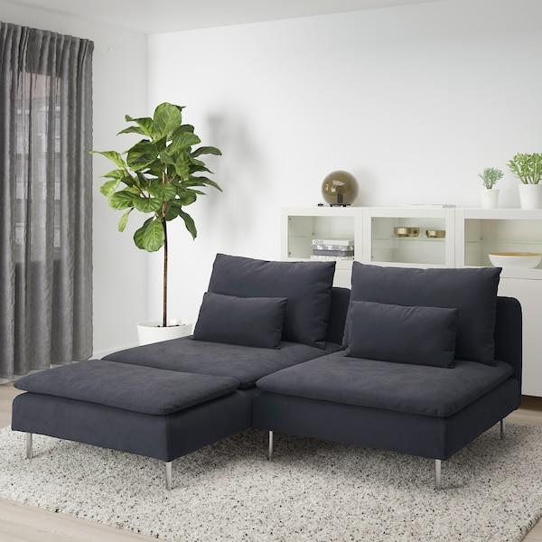 SÖDERHAMN 2er-Sofa, mit Récamiere/Samsta dunkelgrau