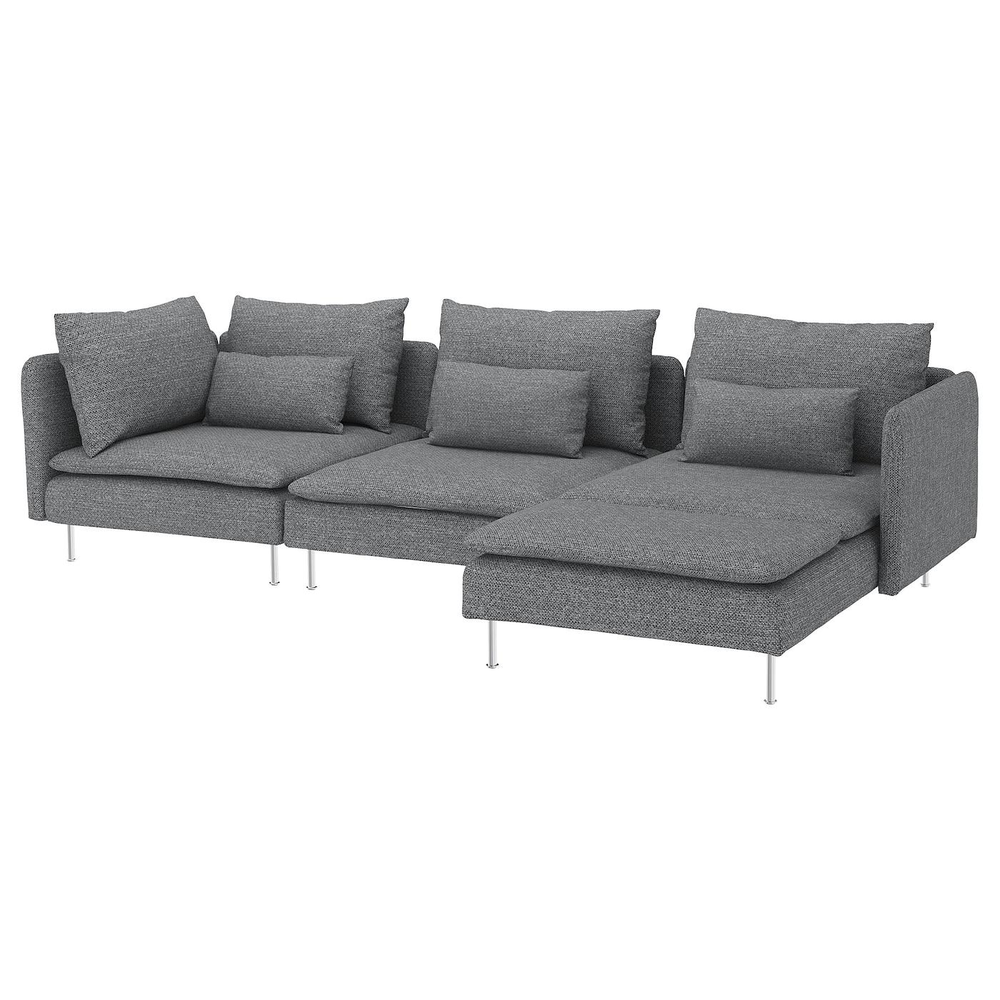4er-Sofa SÖDERHAMN mit Récamiere, Lejde grau/schwarz