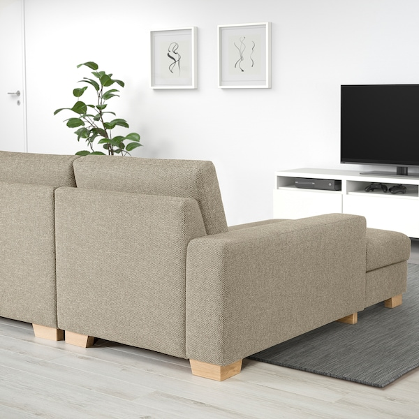 SÖRVALLEN 3er-Sofa mit Récamiere links/Lejde dunkelbeige 284 cm 88 cm 102 cm 193 cm 153 cm 7 cm 58 cm 263 cm 60 cm 45 cm