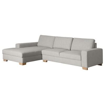 SÖRVALLEN 3er-Sofa, mit Récamiere links/Tenö hellgrau