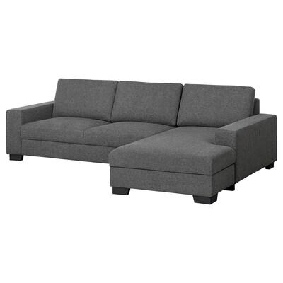 SÖRVALLEN 3er-Sofa, mit Récamiere rechts/Lejde dunkelgrau