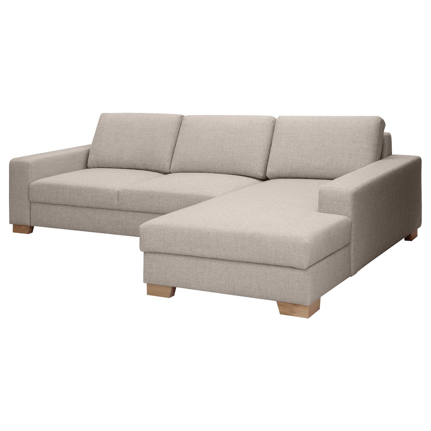 SÖRVALLEN 3er-Sofa - mit Récamiere rechts/Tenö hellgrau