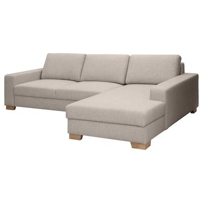 SÖRVALLEN 3er-Sofa, mit Récamiere rechts/Tenö hellgrau
