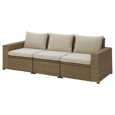 SOLLERÖN 3er-Sitzelement/außen, braun/Hållö beige, 223x82x82 cm
