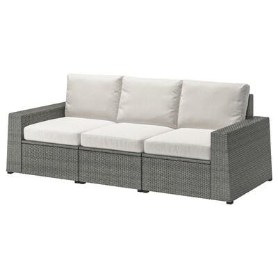 SOLLERÖN 3er-Sitzelement/außen, dunkelgrau/Frösön/Duvholmen beige, 223x82x88 cm