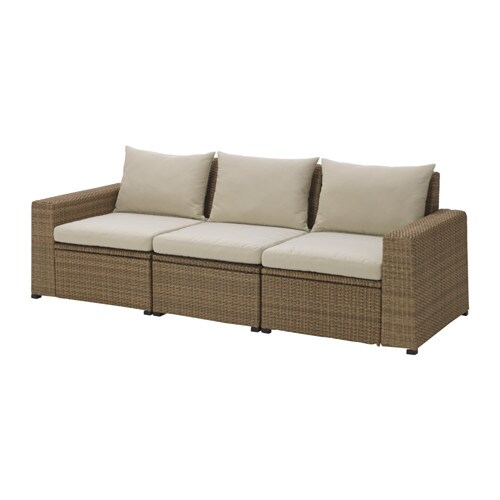 SOLLERÖN 3er-Sofa/außen - braun/Hållö beige - IKEA