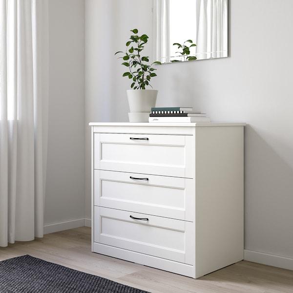 SONGESAND Kommode mit 3 Schubladen, weiß, 82x81 cm