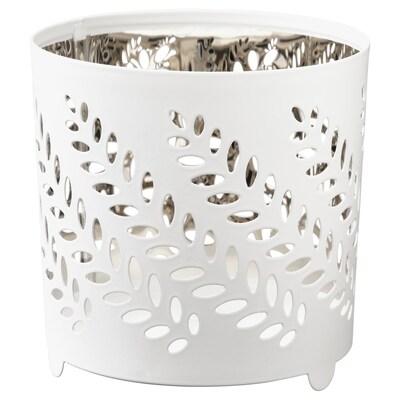 STABBIG Teelichthalter, weiß/silberfarben, 8 cm