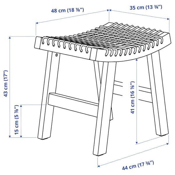 STACKHOLMEN Hocker/außen, hellbraun lasiert, 48x35x43 cm