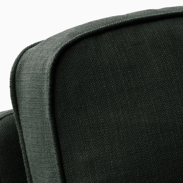STOCKSUND 3er-Sofa Nolhaga dunkelgrün/hellbraun/Holz 84 cm 73 cm 199 cm 97 cm 13 cm 167 cm 58 cm 46 cm