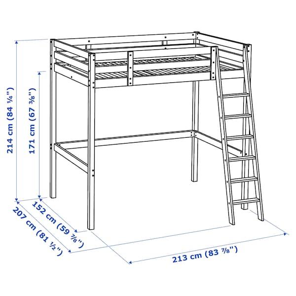 STORÅ Hochbettgestell, weiß gebeizt, 140x200 cm