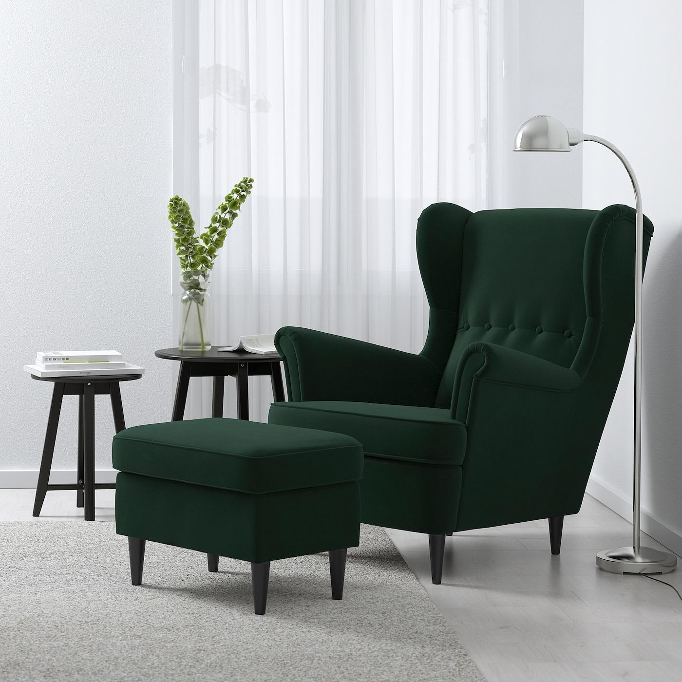 STRANDMON Ohrensessel, Djuparp dunkelgrün