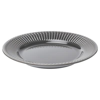 STRIMMIG Dessertteller, Steingut grau, 21 cm