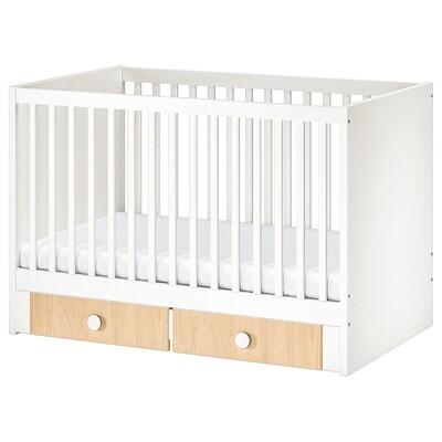 STUVA / FÖLJA Babybett mit Schubfächern, weiß/Birke, 70x140 cm