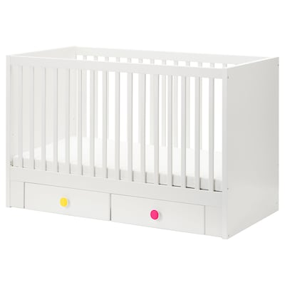 STUVA / FÖLJA Babybett mit Schubfächern, weiß, 70x140 cm