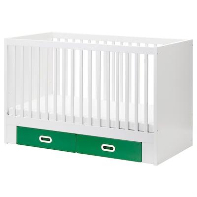 STUVA / FRITIDS Babybett mit Schubfächern, grün, 70x140 cm