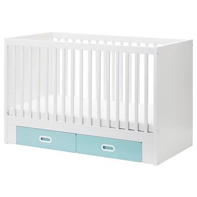 STUVA / FRITIDS Babybett mit Schubfächern, hellblau, 70x140 cm