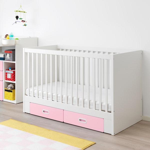 STUVA / FRITIDS Babybett mit Schubfächern, hellrosa, 70x140 cm