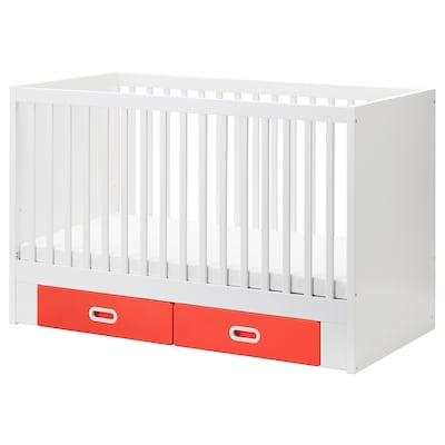 STUVA / FRITIDS Babybett mit Schubfächern, rot, 70x140 cm