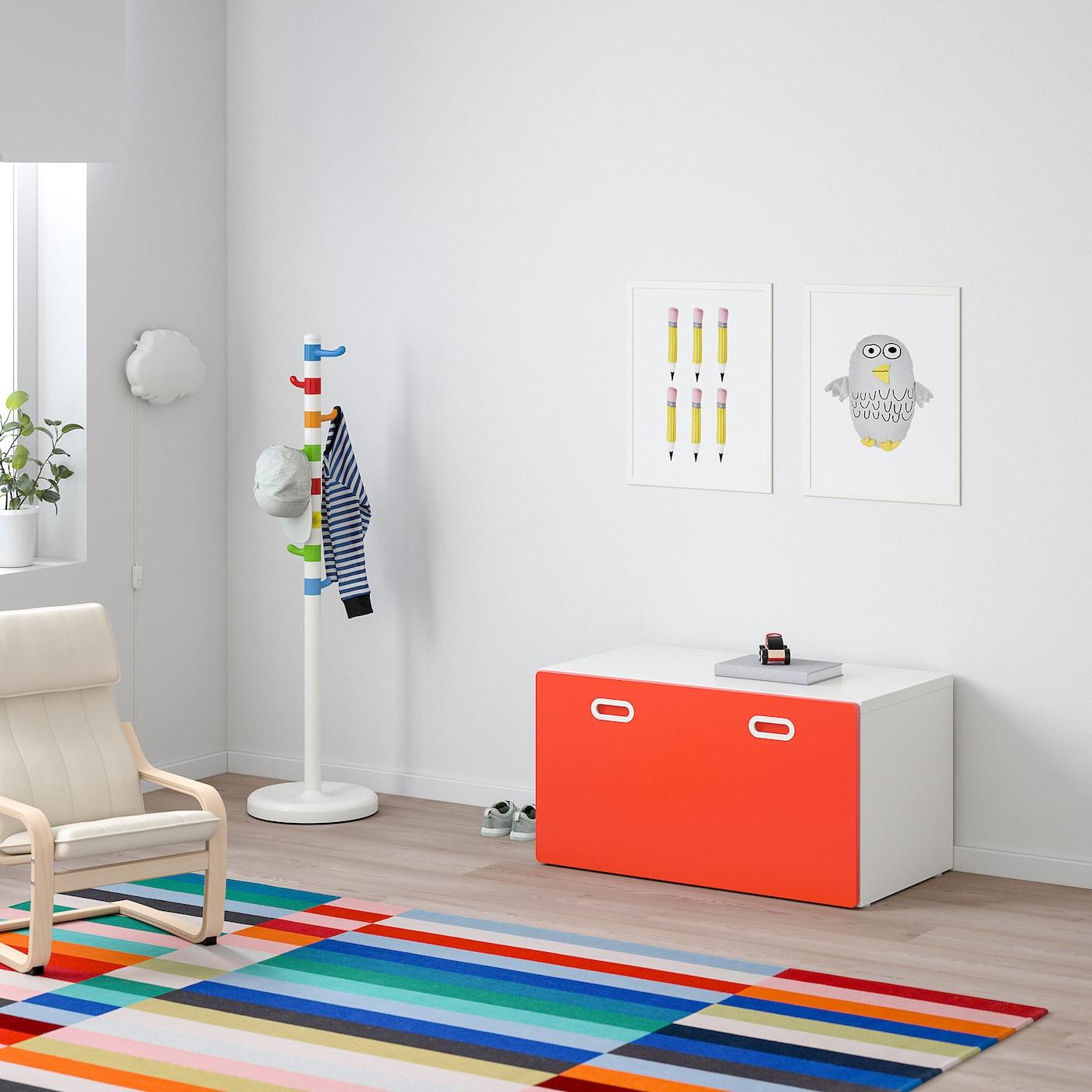 STUVA / FRITIDS Bank mit Kasten, weiß/rot, 90x50x50 cm