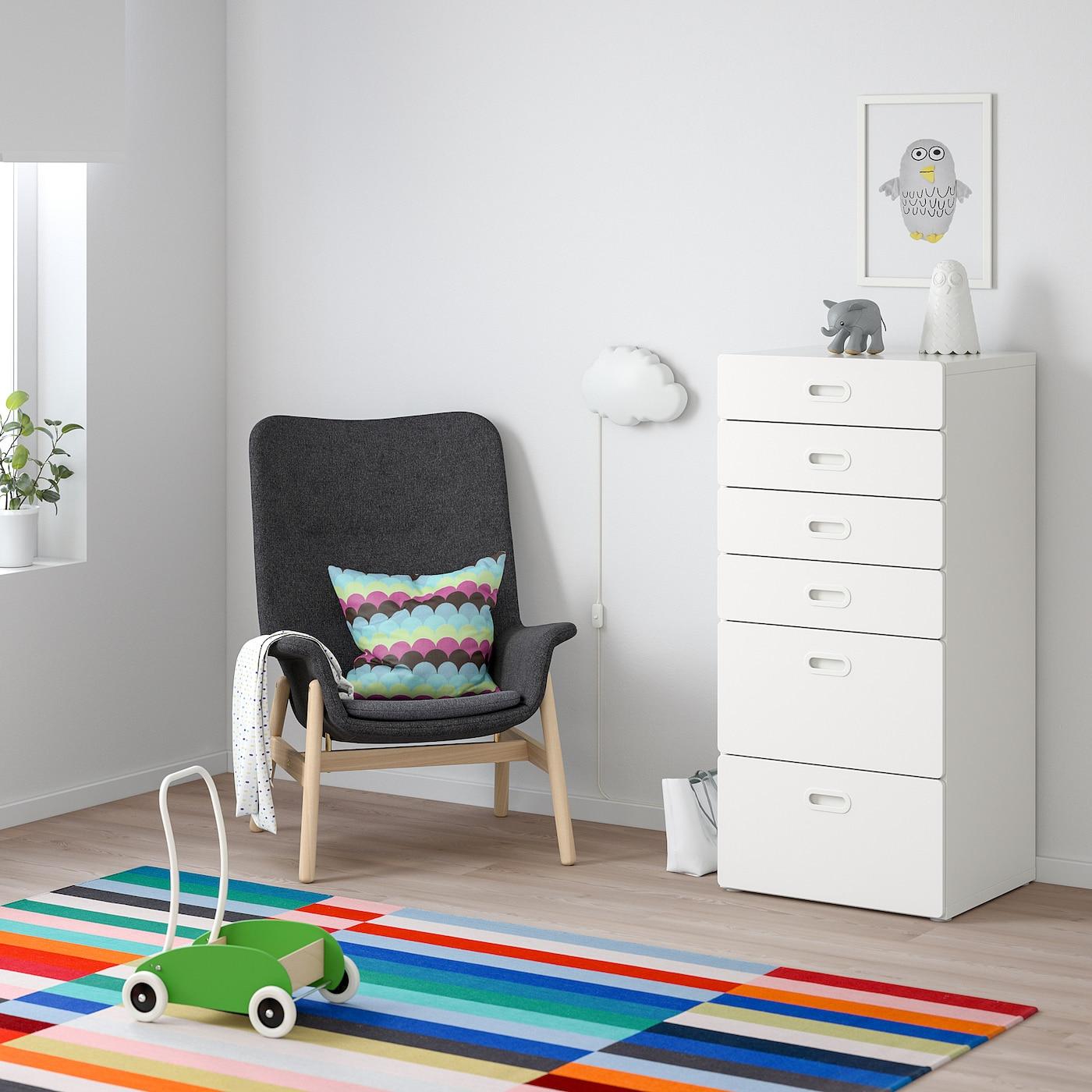 STUVA / FRITIDS Kommode mit 6 Schubladen weiß/weiß 60 cm 50 cm 128 cm