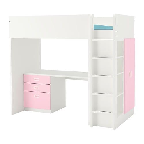 stuva fritids hochbettkomb 3 schubl 2 t ren wei hellrosa ikea. Black Bedroom Furniture Sets. Home Design Ideas